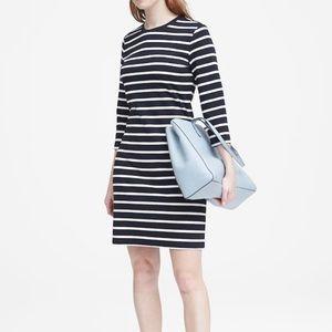 BANANA REPUBLIC Striped Ponte T-Shirt Dress (Tall)